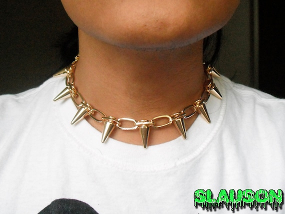 Gold Spike Choker Necklace