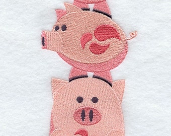 Pig Stack - Embroidered Decorative Absorbent White Cotton Flour Sack Towel, Linen Tea Towel, Waffle Towel