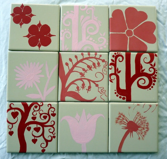Set of Nine (9) Hand-Painted Floral Ceramic Tiles in Reds and Pinks