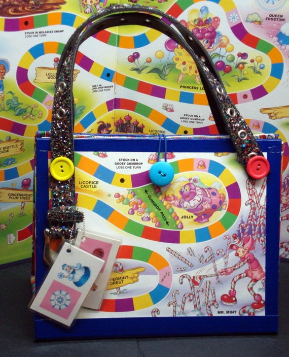 candy craft game upcycled blue land board purse novelty gift made 1218