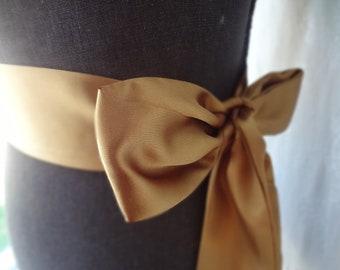 Gold Satin Sash belt Bridal