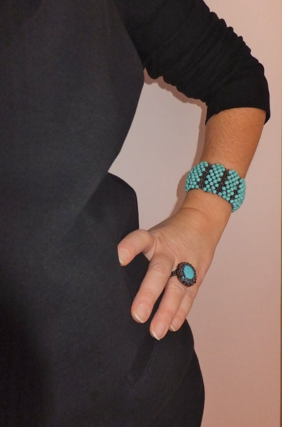 Natural Turquoise Capricho Bracelet and Ring,Turquoise  Jewelry,Beadwoven Bangle ,Crystal Ring,