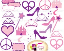 Princess Accessories Clipart Tiara Castle Peace Love Heart Glass Slipper Magic wand Fancy label Clip art Pink Black Digital images pf00035-6