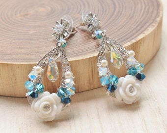 White Rose Rhodium Earrings with Blue Ombre Swarovski Crystals - romantic jewelry - rose cabochons with rhinestones & daisy earstuds
