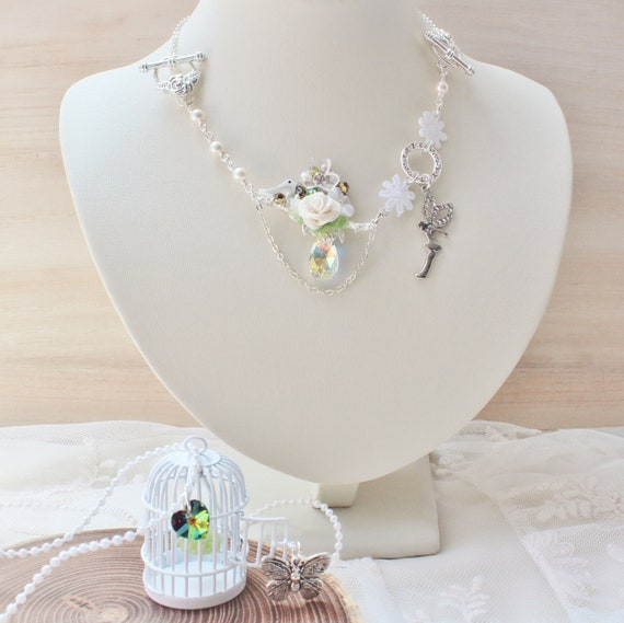 Fairy's Garden Layering Necklaces & Bracelet -RESERVED- white birdcage, fairy charm, mother of pearl bird, lace flowers, swarovski crystals