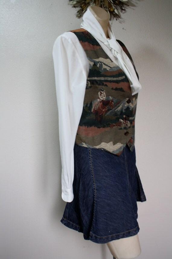 Vintage 1980's western RANCH & horses  womens vest M