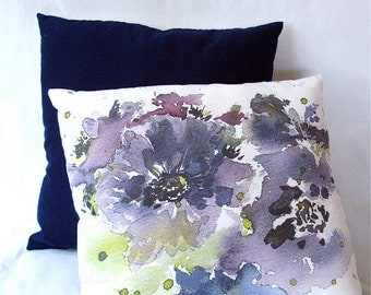 Throw Pillow, purple flowers with blues greens and navy. Floral Anemone Print