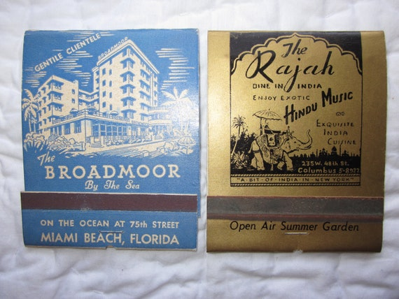 Lot of Two Large Advertising Matchbooks from The Broadmoor by the Sea hotel and The Rajah restaurant