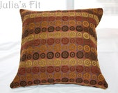 Circle Print Pillow Brown Burgundy Orange Cover Upholstery