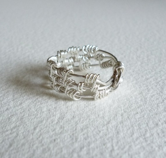 Tower Ring,Wire wrap,wrapped Silver rings