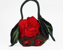 Designer Bag Felted Bag Nunofelt Bag SNOW WHITE Bag Felted Handbag Rose Purse wild Felt Nuno felt floral fantasy shoulder bag Fiber Art boho