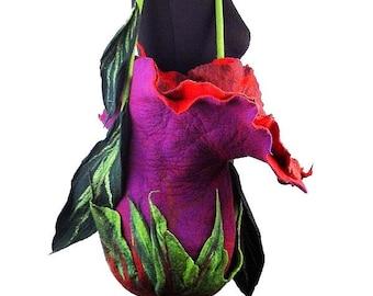 Flower Bag Felted Bag Floral Bag Shoulder Bag Fairy Felt Purse Flower Bag Fairy Felt Bag Nunofelt Bag