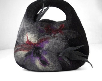 Felted Bag Black Purse Nunofelt Handbag Floral Purse Black Bag Fairy purse lilac black grey gray fairy multicolor fantasy Fiber Art