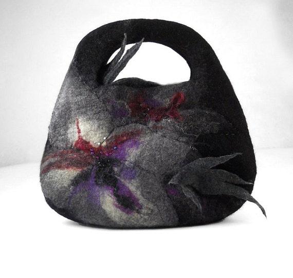 Felted Bag Nunofelt Handbag Purse wild Felt Nuno felt Silk Eco lilac black grey gray fairy multicolor floral fantasy  Fiber Art boho