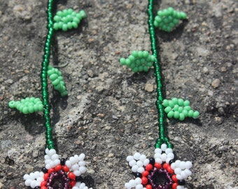 Huichol  Beaded Earrings XX White-1