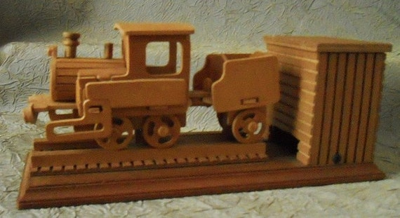 Vintage Unique Wooden Train Moving Music Box - Chinese Craftsman, Taiwan 1980's or Earlier