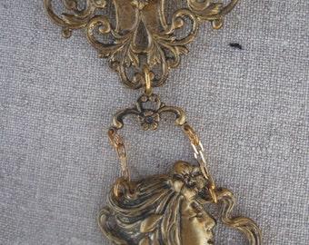 Art Nouveau Woman Brooch