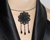 """Black floral lace  necklace, tatted  - """"Sleepeing Beauty"""" collection"""