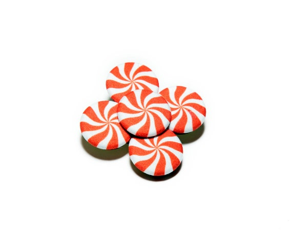 Peppermint Hard Candy Hair Clip - Red & White