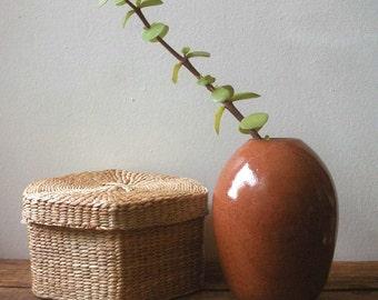 vintage pottery vase,  studio pottery vase, vintage vase, rust, brown, signed