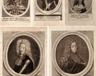 CLEARANCE - Postcards Sepia Etchings Engravings Royalty Antique Set of 5 - 17th century European Royalty Turkish Wars Queen King Emperor