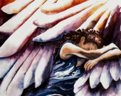 Inspired by Psalms, Watercolor of Woman Taking Refuge in Wings of God, Psalm 17, Christian Art, Christian Paintings, Wings of Angels