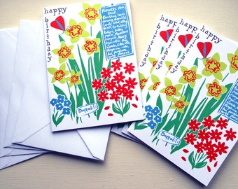 Beautiful birthday cards. Pack of 4.  Market flowers illustration with butterflies and text.