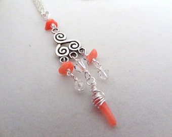 Silver Coral Pink Wire Wrapped Crystal Bead Handmade Pendant Necklace Jewelry Beads