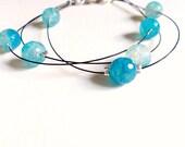 Beaded turquoise bracialet / agate faceted beads / multistrand bracelet / bangle bracelet /natural gemstones / raw stone jewelry