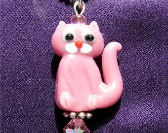 Pink Lampwork Glass Pendant