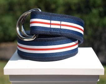 Fourth of July Belt / Red, White and Blue Ribbon Belt / Patriotic Belt / Olympic Belt / Canvas Belt for Men