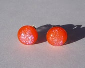 Orange Sparks Stud Earrings Sterling Silver with Fused Glass Rounds of Orange with a Subtle Shimmering Within Gift Boxed