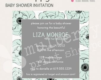 Blue Poppy Baby Shower Invitation