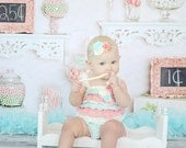 Petti Romper Headband SET,  Coral, Mint, Ivory Lace romper & baby headband, hair bow, outfit, pettiromper girl