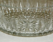 Cut Crystal Arcoroc France Large 9 Inch Serving Bowl Salad Fruit Clear Glass Diamond Star Pattern