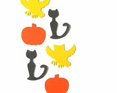 100 Halloween Confetti - Screeching Owls, Black Cats & Pumpkins - 100 Paper Punches, Halloween party decorations, table confetti, fall 2012