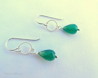 Green Onyx gemstone earrings on Sterling Silver earwires