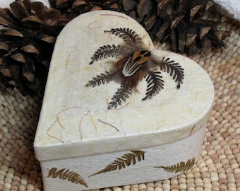 Handmade Recycled Paper Heart Box w Brass Ferns and Feathers