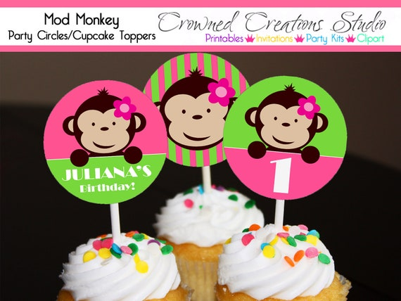 Monkey Cupcake Toppers or Stickers - Girl's Birthday or Baby Shower Party Printables - Pink and Green Mod Monkey