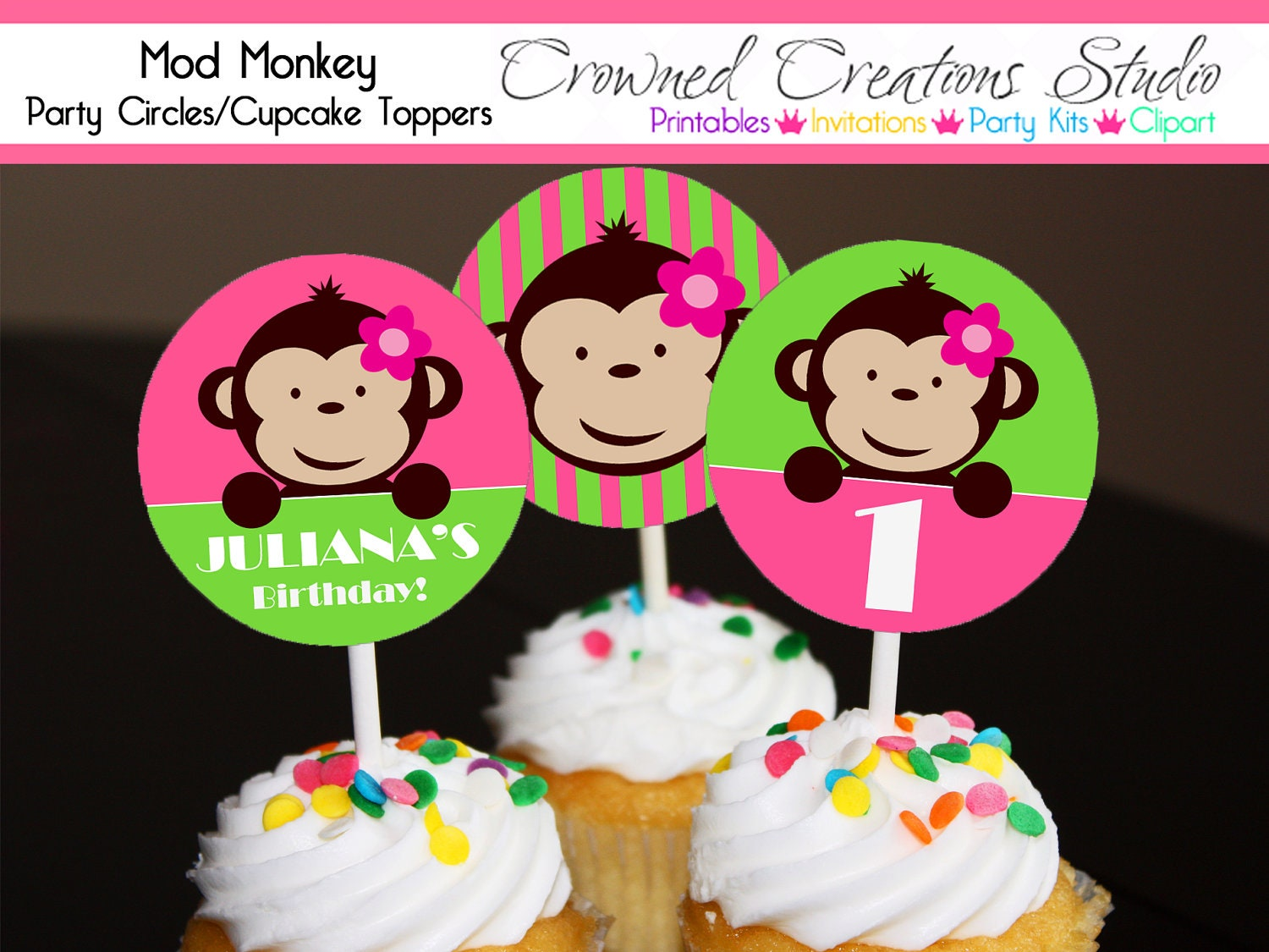 Monkey Cupcake Toppers or Stickers Girl's Birthday or