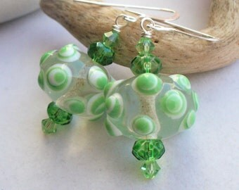 Drop, Dangle Beaded Earrings Made With Lampwork Glass Bumpy Beads and Swarovski Crystals for Spring, Summer, Winter, St. Patrick's Day