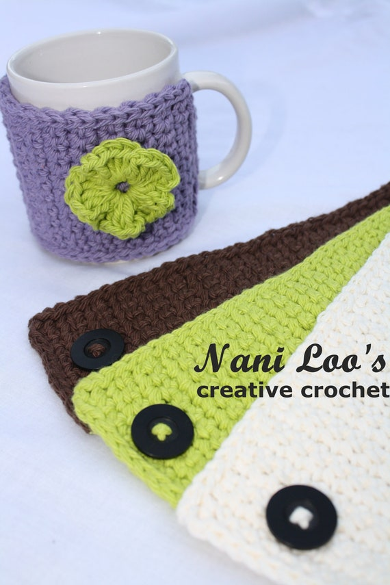100% Cotton Mug Cozy.  With or without flower accent.  Button closure.