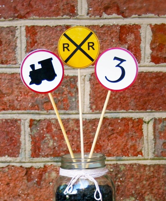 Train Theme Birthday Party Accent Signs Set of 12