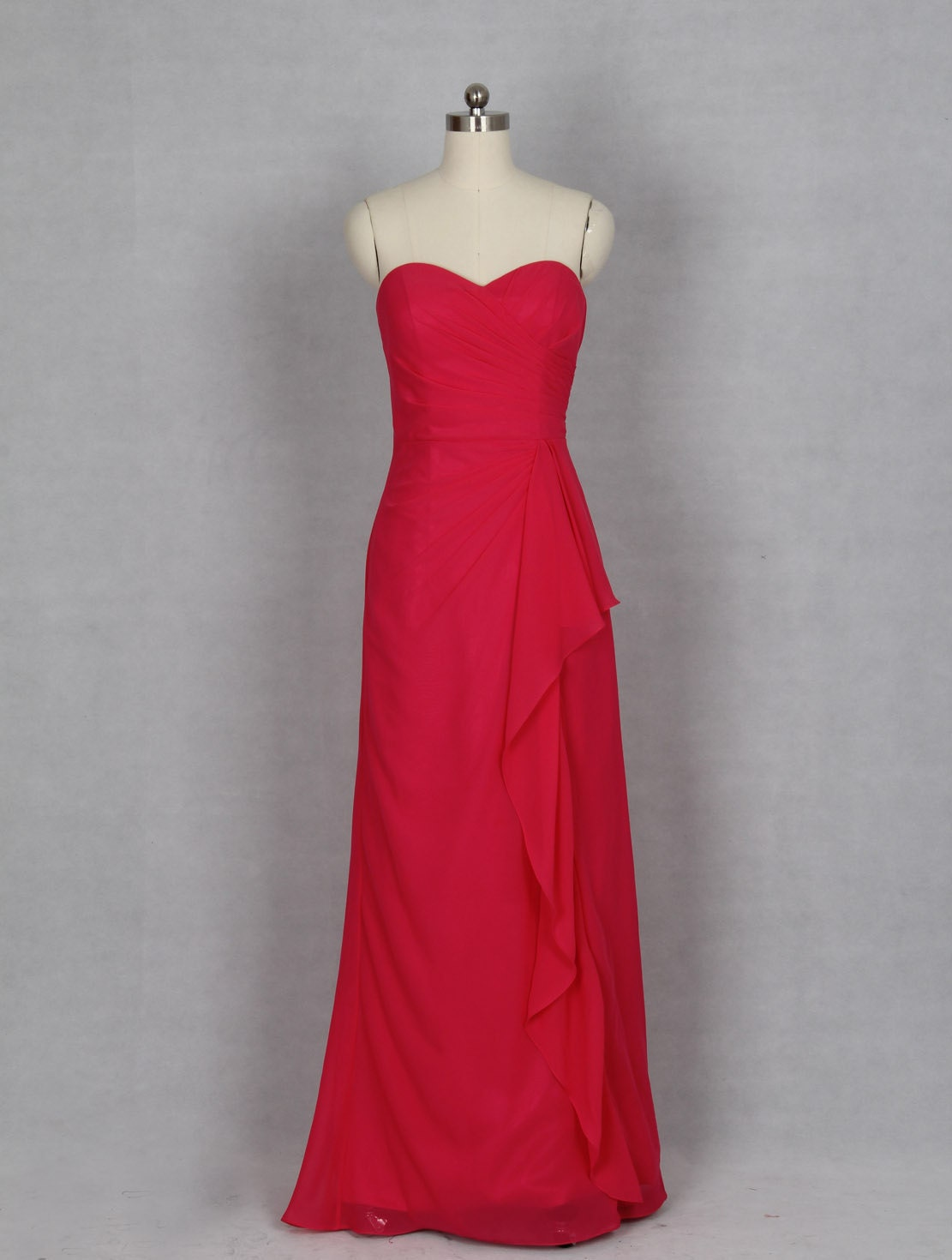 Red Prom Dress A line Sweetheart Long Chiffon Evening Dress