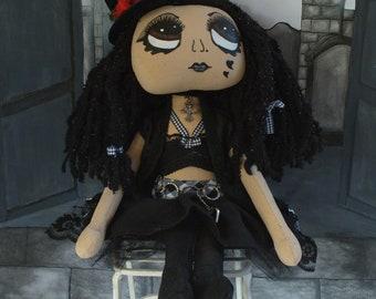 Handmade cloth doll - Adria a goth doll.