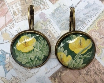 Yellow Poppies One of a Kind Glass Dome Earrings Handmade with Real Vintage Postage Stamps, 20mm, 20-000003RF
