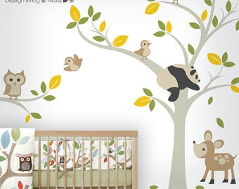 Forest Animal Decals - Tree Decals with Owl, Panda, Deer and Birds - Baby Nursery Wall Decal - 0041