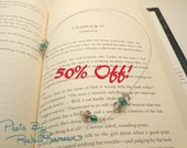 50% OFF Beaded Bookmark Thong, Paperback, Green and Smokey Crystals