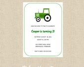 PRINTABLE Little Green Tractor Invitation DIY
