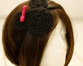 Crocheted Minnie Mouse /  Mickey Mouse Hairband / Headband for Infants, Toddlers, Teens,  & Adults